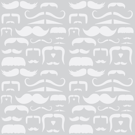 mustache love grey ghost fabric by bridgethofer on Spoonflower - custom fabric