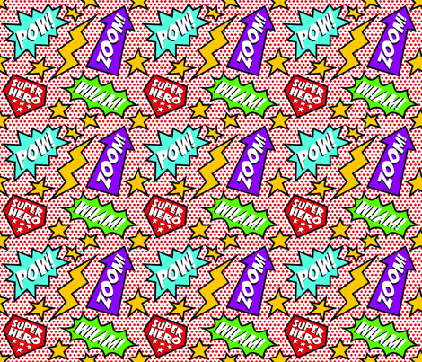JJD_BeMyHero_PowZoomWham1 fabric by jillyjack on Spoonflower - custom fabric
