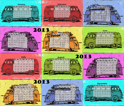 Hippie Camper Calendar 2013 fabric by 7oaks-design on Spoonflower - custom fabric