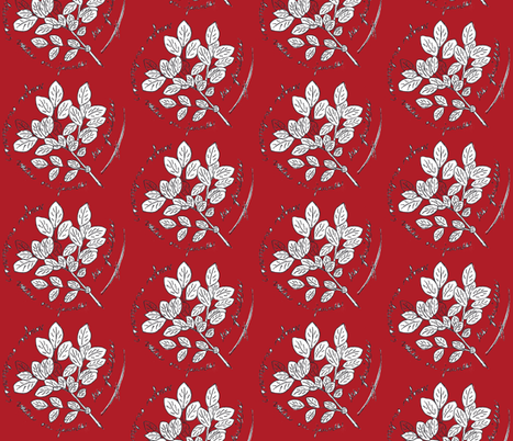 feuilles_rouges fabric by elm_cottage on Spoonflower - custom fabric