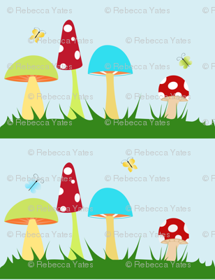 Colorful Mushrooms on Blue