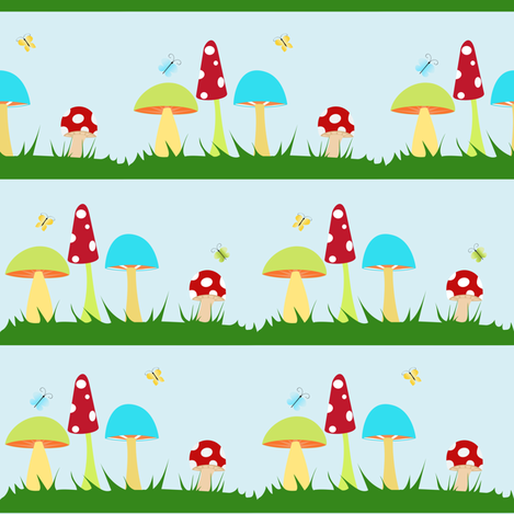 Colorful Mushrooms on Blue fabric by beccanom on Spoonflower - custom fabric