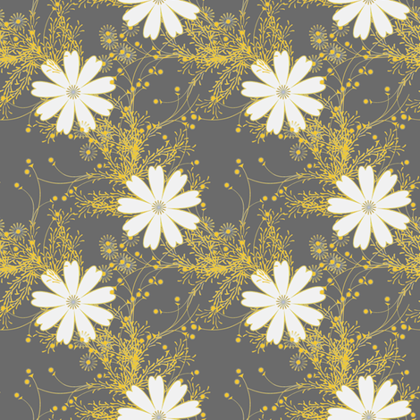 Cosmos Floral in gray and yellow fabric by joanmclemore on Spoonflower - custom fabric