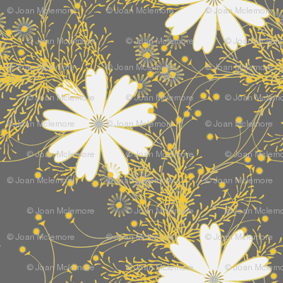 Cosmos Floral in gray and yellow