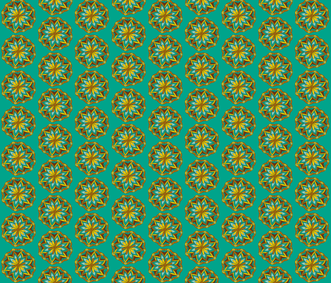 teal mandala flower fabric by dnbmama on Spoonflower - custom fabric