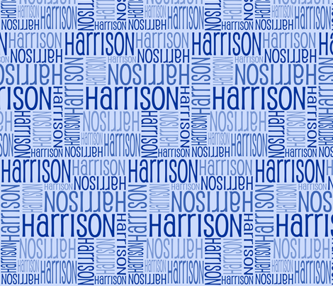 Personalised Name Fabric - Dark on Lt Blue fabric by shelleymade on Spoonflower - custom fabric