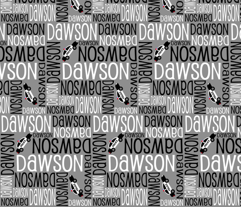 Personalised Name Fabric - Police Cars Grey Black White fabric by shelleymade on Spoonflower - custom fabric