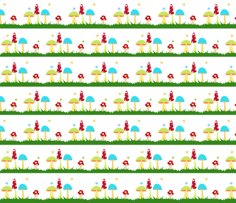 Colorful Mushrooms on White fabric by beccanom on Spoonflower - custom fabric