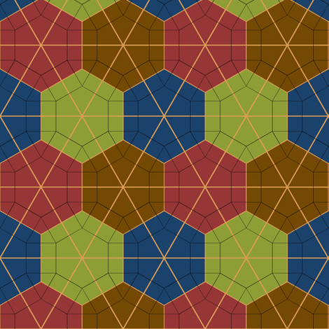Colorful Tessellated Hexagonal Wheel - Red, Brown, Blue, Green, Yellow fabric by zephyrus_books on Spoonflower - custom fabric