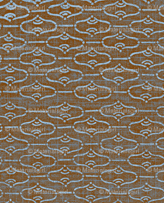 Aladdin - cherrywood brown with red hues and light blue design