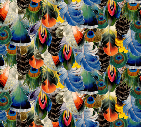 Rainbow Feathers fabric by annacole on Spoonflower - custom fabric