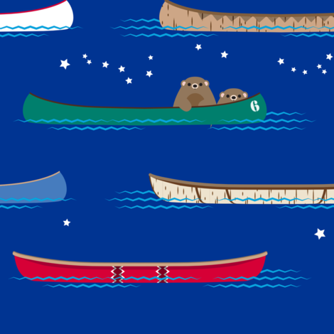 Lake Canoe under the Stars fabric by hootenannit on Spoonflower - custom fabric