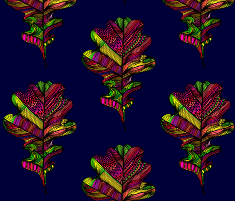 oakleaves on midnight blue fabric by creative_cat on Spoonflower - custom fabric