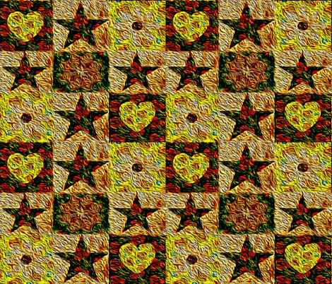 Bee Cheater Quilt Painted fabric by anniedeb on Spoonflower - custom fabric