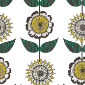 Little doodle flowers Mustard and Teal