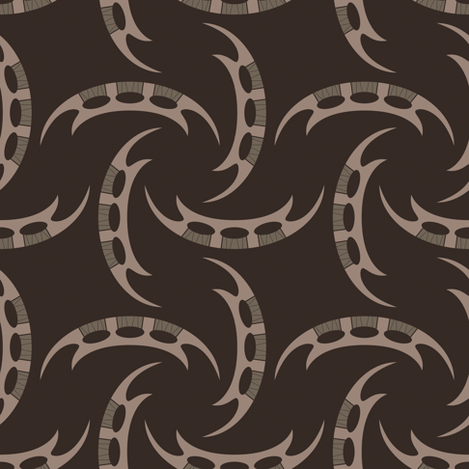 Klingon Bat'leth - Brown, Medium fabric by meglish on Spoonflower - custom fabric