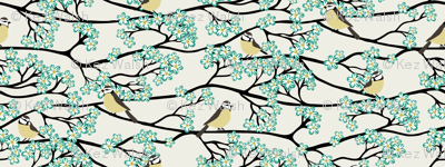 Bluetits and Blossoms Teal and Mustard