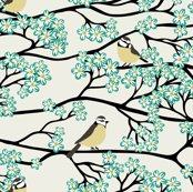 R1485079_bluetits_and_blossoms_mustard_and_teal