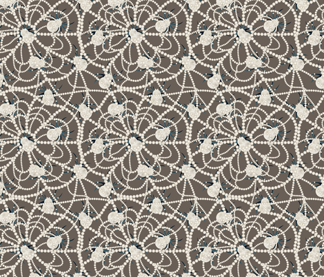 spiders on pearly web brown fabric by kociara on Spoonflower - custom fabric
