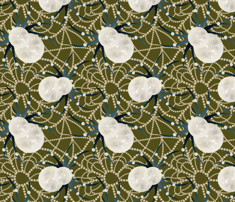 glamorous spiderweb on green fabric by kociara on Spoonflower - custom fabric
