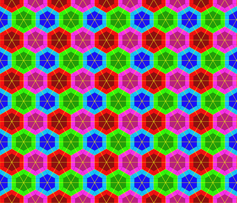 Colorful Tessellated Hexagonal Wheel - Pink, Red, Blue, Green fabric by zephyrus_books on Spoonflower - custom fabric