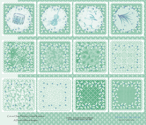 holiday_cocktail_napkins - Mint and Ice fabric by glimmericks on Spoonflower - custom fabric