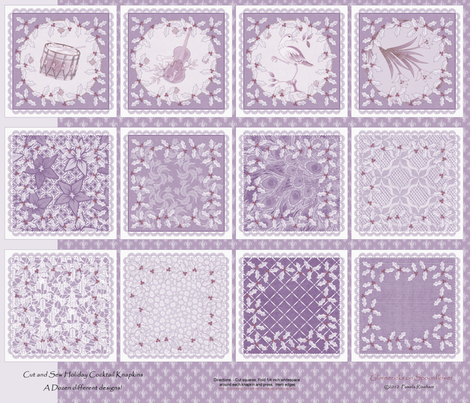 holiday_cocktail_napkins - plum frost and cranberry fabric by glimmericks on Spoonflower - custom fabric