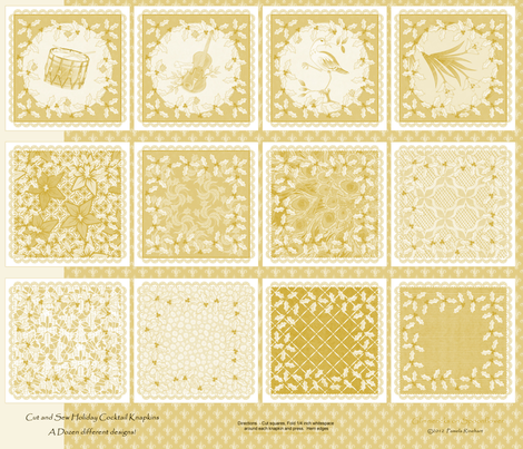 holiday_cocktail_napkins - gold fabric by glimmericks on Spoonflower - custom fabric