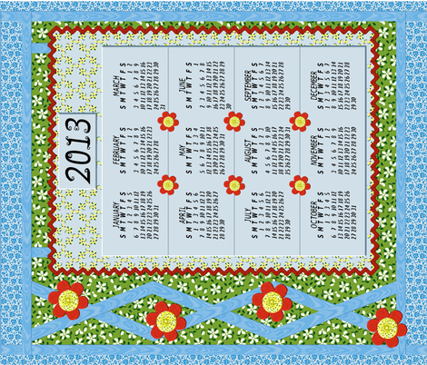 Flood_of_flowers_2013_Layered_Applique_Calendar_N fabric by khowardquilts on Spoonflower - custom fabric