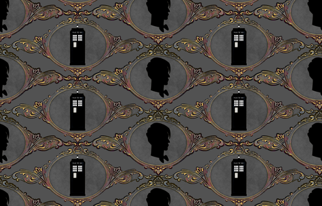 Dr Who Cameo Gray fabric by vo_aka_virginiao on Spoonflower - custom fabric