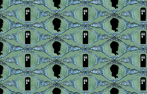 Dr Who Cameo Med Green fabric by vo_aka_virginiao on Spoonflower - custom fabric