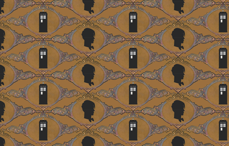 Dr Who Cameo Golden Sienna fabric by vo_aka_virginiao on Spoonflower - custom fabric