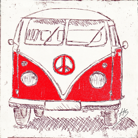 Campervan - Large Wall Decal, Fabric, Wallpaper_red fabric by 7oaks-design on Spoonflower - custom fabric