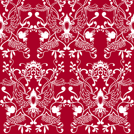 Raven Damask fabric by jadegordon on Spoonflower - custom fabric