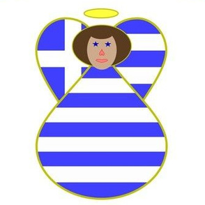 Greek Flag Angel Brown Hair