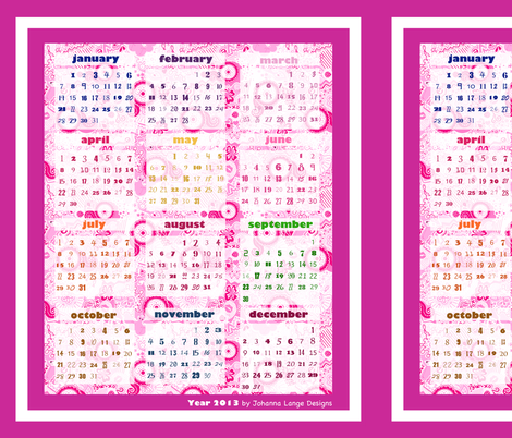 teatowel-calendar-flamingo-paradise fabric by johanna_lange_designs on Spoonflower - custom fabric