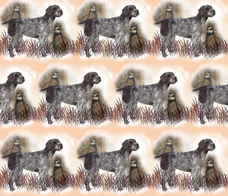 German Wirehaired Pointer With Quail fabric fabric by dogdaze_ on Spoonflower - custom fabric