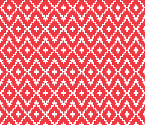 Southwest Diamonds Chevron - White on Red fabric by fable_design on Spoonflower - custom fabric