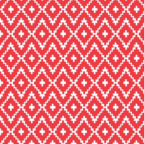 Southwest Diamonds Chevron - White on Red