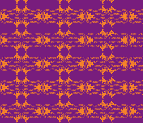 Creepy Crawlies No. 2 (Purple & Orange) fabric by lisulle on Spoonflower - custom fabric