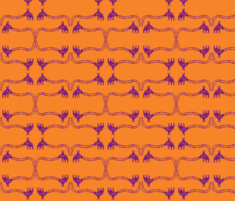 Creepy Crawlies No. 1 (Orange & Purple) fabric by lisulle on Spoonflower - custom fabric