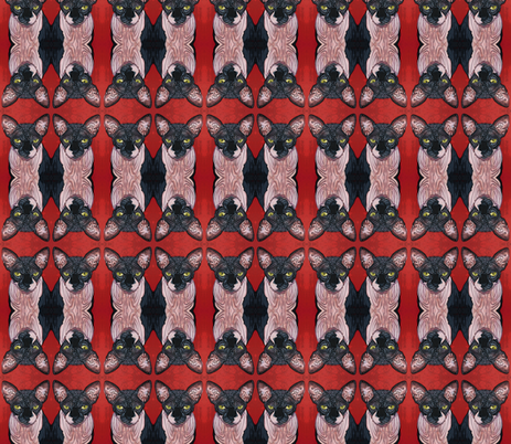 Boris Sphynx Cat fabric by glamourpuss on Spoonflower - custom fabric