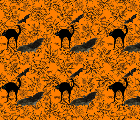 Creepy-crawly Halloween fabric by de-ann_black on Spoonflower - custom fabric