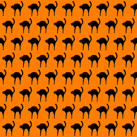 Black Cat on Halloween Orange fabric by de-ann_black on Spoonflower - custom fabric