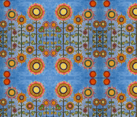 daisy_s_sunflower_garden_15x15_250_dpi fabric by nancyperrotti on Spoonflower - custom fabric