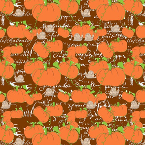 Pumpkin patch on brown french script
