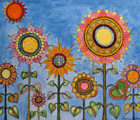 daisy_s_sunflower_garden_recomposedy fabric by nancyperrotti on Spoonflower - custom fabric