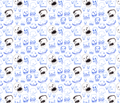 Silly Skulls fabric by giantpeanut on Spoonflower - custom fabric