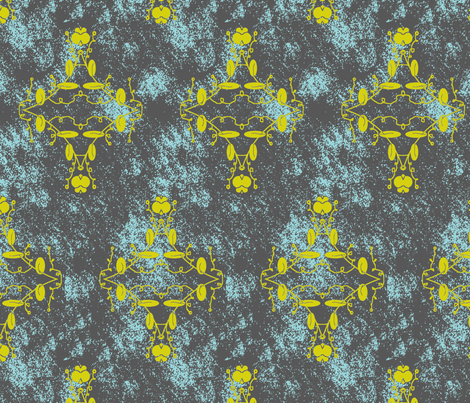 Gray Turquoise and Chartreuse Grunge Damask fabric by captiveinflorida on Spoonflower - custom fabric