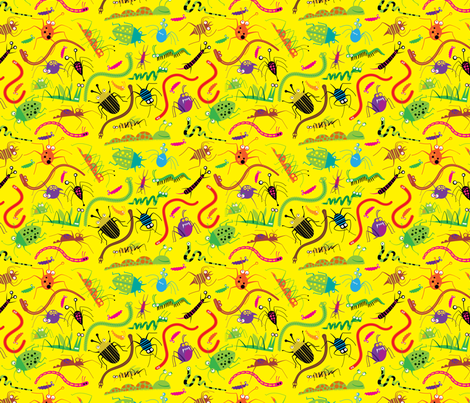 Creepy Yellow Bugs fabric by edmillerdesign on Spoonflower - custom fabric